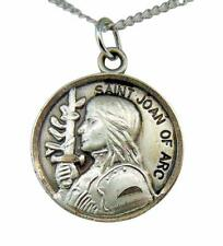 "Saint Joan of Arc 7/8"" Round Sterling Silver Medal w/ 18"" Chain Boxed USA Made"