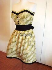 NWT BETSEY JOHNSON VINTAGE YELLOW PLAID SWEETHEART DRESS~8 SALE
