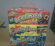 Grafix animal match puzzle cards box 3 different games