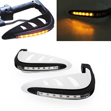 White Motorcycle Led DRL Turn Signal Light Handle Brush Bar Hand Guard Protector