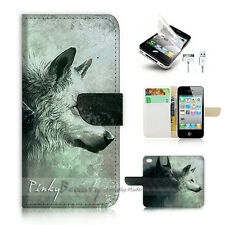 iPhone 4 4S Flip Wallet Case Cover! P0793 Wolf