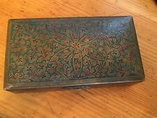 Gorgeous Vintage Brass Ornate Colored Turquoise Desk Box