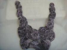 1 piece of chiffon lilac with black with tulle on the back applique 11 1/2 w L3