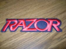 RAZOR,IRON ON RED EMBROIDERED PATCH