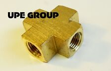 """BRASS PIPE CROSS 4 Way Fitting 1/4"""" Female NPT Pipe Thread Fuel Air Water"""