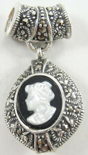 Sterling Silver Cameo Dangle Pendant White Black Marcasite Swirl 1.5""
