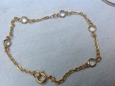 Vintage Gold Tone With Clear Hearts Rhinestones Bracelet