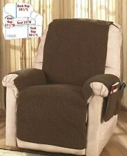 Brown Fleece Recliner Cover Protector With Storage Pockets Soft Warm Comfort