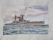 A Coloured Postcard Of H.M.S.Royal Oak - Name- AFD Bannister Dated 1937 -Salmon