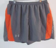 Under Armour Women's Athletic Shorts Gray & Orange Fitted Heat Gear Size LARGE L