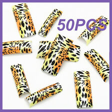 50pcs Gradient Back Black Leopard French False Nail Tips FN0025+1 Free Glue