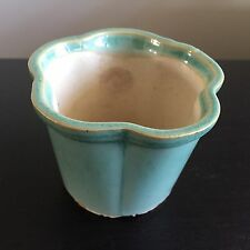 Fine Old VTG Antique Chinese Pottery Porcelain Glaze Flower Pot Planter Lobe Rim