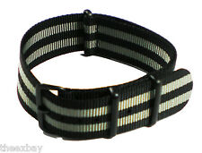 22mm 3 Grey / Black Nylon Military Watch Band Strap Fits Luminox Traser CASIO
