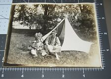 Mom Son Dressed INDIAN Costume TENT Native American Vintage Snapshot PHOTO