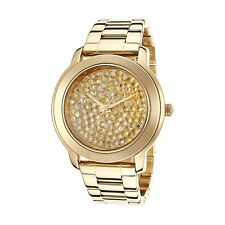 NWT DKNY Women's Watch Yellow Gold Bracelet & Crystals Glitz Dial NY8437 $175