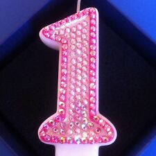 1st First Birthday (one) CANDLE Diamante Topper Pink Princess Party FREE POSTAGE