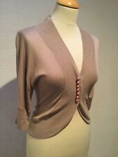 Nougat - Silk And Cashmere Bead Detail Cardigan - Mink - Size 1 (uk 8)