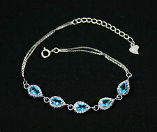 Pretty Solid Sterling Silver, Blue Topaz,CZ Teardrop Bracelet / Bangle + box