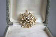 FINE ANTIQUE VICTORIAN 15 CT Y GOLD SEED PEARL STAR BURST PENDANT BROOCH 2.5 CM