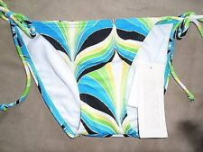 Bikini Bottom Hula Honey Sz M Multi Blue Green White Yellow Side Tie Swim Bottom