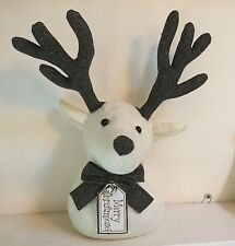 Fabric Reindeer Head Doorstop Mantel Decoration Christmas Vintage Style Rudolph
