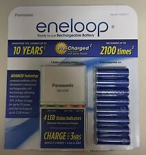 BRAND NEW Panasonic Eneloop Rechargeable Batteries 8 AA & Quick LED Charger Kit