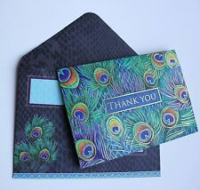 *PUNCH STUDIO Set of 5 Gold Foil Blank Thank You Note Cards ~ Peacock Feathers