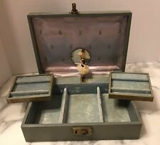 Vintage Teal Blue Ballerina Music Mele Leather Jewelry Box  Thorens Switzerland