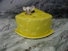 VTG ENTERPRISE EXCLUSIVE LEFTON JAPAN CERAMIC COVERED CHEESE PLATE DISH W/ MOUSE