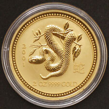 "2 OZ Australia 2001 Lunar serie i ""Year of the Snake"" (Serpente) 2 once 999,9"