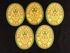 5 Ballantine Beer XXX Ale IRTP Labels 1939 Newark New Jersey