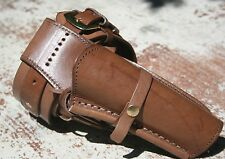 Leather Holster Hand Tooled and Belt Brown Smooth Leather Hand Stitched 70022