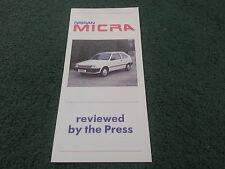 March 1987 Nissan MICRA 3 & 5 Door PRESS REVIEWS UK FOLDER BROCHURE