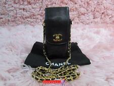 Auth CHANEL VINTAGE Black Caviar Phone Case Holder Bag Gold HW