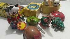 VINTAGE TIN TOY LOT TOYS PANDA BEAR KANGAROO FROG WIND UP MOUSE CATS CHINA USSR