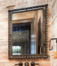 """Twisted Metal Wall Mirror Antique Bronze 35""""H Foyer Large Rectangle Wrought Iron"""