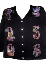 2X 22/24 12 DAYS OF CHRISTMAS ART DESIGN MOTIF TERAZZO WOMEN'S COTTON CARDIGAN