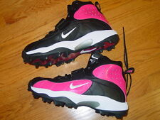 MENS 13 NIKE AIR SHARK FOOTBALL SPIKES CLEATS SHOES PINK BLACK BREAST CANCER NEW