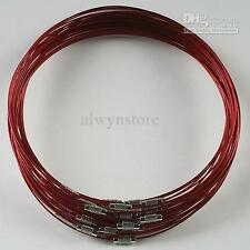 20pcs RED 18 inches Stainless Steel Chain Cord Necklace Clasp H0380