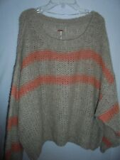 New Free People $128 Soft Alpaca Oversized Cropped Striped Sweater Top M