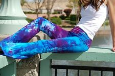 "Tall Yoga Pants 34"" Leg  Purple Hand Tie Dyed in the USA All Sizes XS-6XL"