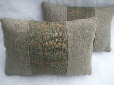 Harris Tweed complete oblong cushions HAMISH /BARLEY TWIST OATMEAL 18x12 inch