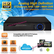 8CH HD 720p H.264 CCTV Security AHD DVR System Web iPhone Android P2P Cloud HDMI