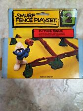 Smurf Fence Playset Rare Vintage Smurfs Toy Lot Set #2 No. 6406 With Care Box