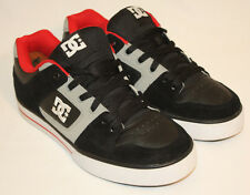 Mens DC Pure Black Gray Red  Leather Skateboarding Sneakers Shoes Size 9M