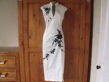 Oriental Chinese Ivory Black LONG dress size 18 20