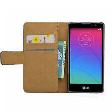Wallet BLACK Leather Flip Case Cover Pouch For LG Spirit 4G LTE H440N, 3G H420