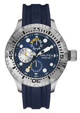 Nautica NAD17512G Mens Watch BFD 100 Multi Box Set Blue Dial Navy Silicone Strap