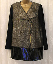 Asos Wool Blend Collarless Metallic Textured Pu Hem Jacket Coat  10 38