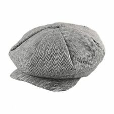 Jaxon - Grey Herringbone Big Apple Newsboy Cap - Peaky Blinders, Gatsby, Retro